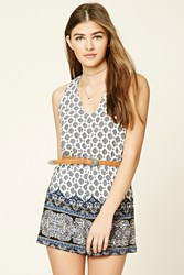 Forever 21 Abstract Floral Print Romper Cream Navy
