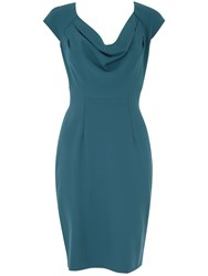 Almari Cowl Neck Button Back Dress Blue