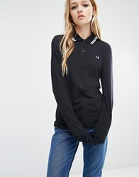 Fred Perry Twin Tipped Long Sleeve Polo Shirt Black White