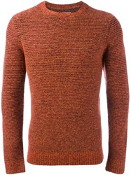 Folk Horizontal Rib Jumper Yellow And Orange