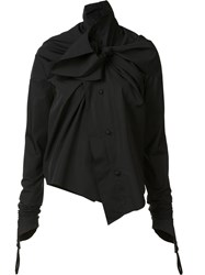 Aganovich Twisted Bow Detail Shirt Black