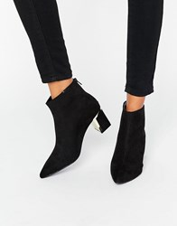 New Look Ankle Boot With Gold Heel Detail Black