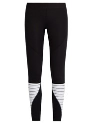 Salt Gypsy Contrast Panel Performance Leggings Black White