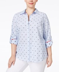 Charter Club Plus Size Printed Shirt Only At Macy's Bright White Combo