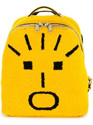 Fendi Faces Shearling Backpack Yellow And Orange