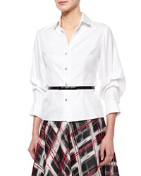 Carmen Marc Valvo Long Sleeve Button Front Blouse White