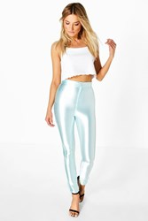 Boohoo High Waist Super Stretch Satin Disco Trousers Ice