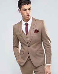 French Connection Flannel Slim Fit Suit Jacket Tan