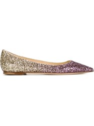 Jimmy Choo 'Alina' Glitter Ballerinas Pink And Purple
