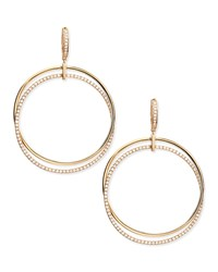 18K Pink Gold And Diamond Interlocking Hoop Earrings Frederic Sage Green