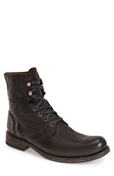 Collection 'Six O Six' Plain Toe Combat Boot Men Black Leather