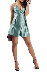Topshop Women's Crinkled Satin V Neck Dress