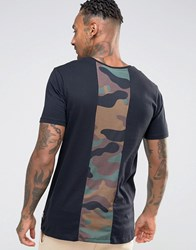 Hype T Shirt With Camo Print Back Panel Black