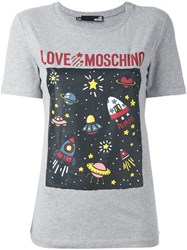 Love Moschino 'Space' Print T Shirt Grey