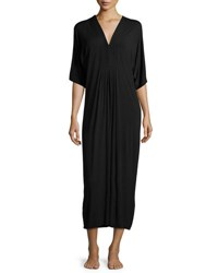 Oscar De La Renta Lux Jersey Tuxedo Pleat Nightgown Black