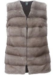 Eleventy Mink Fur Panel Sleeveless Cardigan Nude And Neutrals