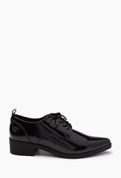 Forever 21 Faux Patent Leather Oxfords Black