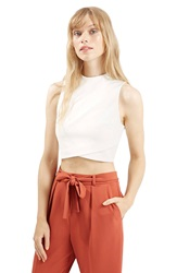 Topshop Wrap Front Crop Shell Cream
