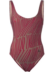 Vivienne Westwood Anglomania Matchstick Print Swimsuit Brown