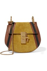 Chloe Drew Mini Leather And Suede Shoulder Bag Light Brown