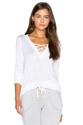 Lanston Lace Up Pullover Top White