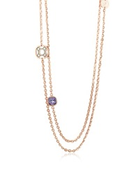 Rebecca Seventies 18 Kt Rose Gold Over Bronze Long Necklace Pink