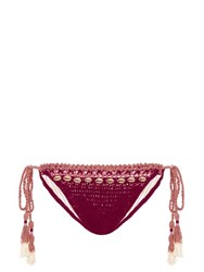 She Made Me Mihira Embellished Tie Side Crochet Bikini Briefs Red Multi