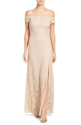 Sequin Hearts Women's Off The Shoulder Lace Gown