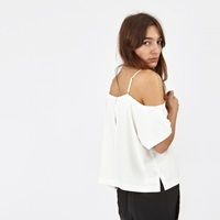 T By Alexander Wang Poly Crepe Off The Shoulder Top Ivory 403