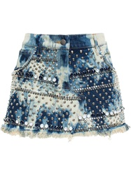 Ashish Studded Denim Mini Skirt Blue
