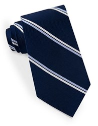 Lord And Taylor Double Clean Striped Tie Navy
