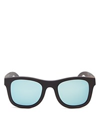 Finlay And Co. Ledbury Mirrored Wooden Wayfarer Sunglasses 50Mm Wood Bluemirror