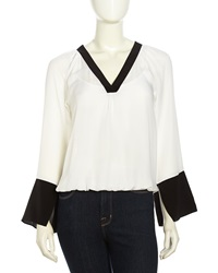 Madison Marcus V Neck Bell Cuff Silk Blouse White Black