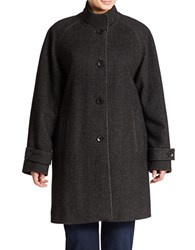 Jones New York Plus Button Front Tweed Coat Black Charcoal