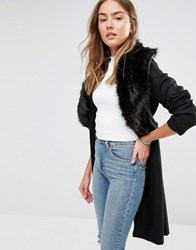 Brave Soul Wool Mix Longline Coat With Oversized Faux Fur Collar Black