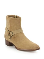 Frye Dara Short Suede Harness Boots Sand