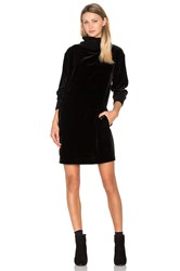 Atm Anthony Thomas Melillo Mock Neck Drappy Velvet Dress Black
