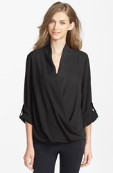 Women's Pleione Faux Wrap Blouse Black Solid