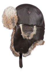 Genuine Fur Lined Leather Aviator Cap Brown
