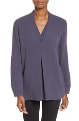 Nic Zoe Women's 'Minimalist' V Neck Top Japanese Violet