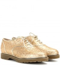 Charlotte Olympia Stefania Glitter Embellished Oxford Shoes Gold