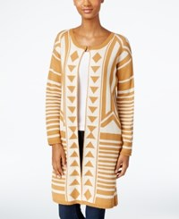 Ny Collection Patterned Maxi Cardigan Gold Multi