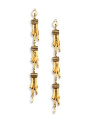 Gucci Faux Pearl Hand Clip On Drop Earrings Gold