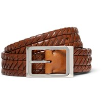 Brunello Cucinelli 3Cm Woven Leather Belt Brown