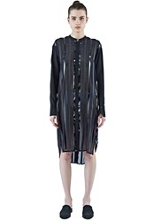 Ilaria Nistri Long Striped Shirt Dress Black
