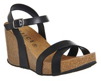 Office Mystery Cork Wedges Black Leather