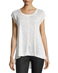 Joan Vass Drop Shoulder Scoop Neck Tee Crescent Ivory