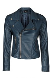 Lone Rider Navy Leather Jacket By Goldie Navy Blue