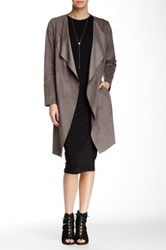 Bagatelle Luxe Faux Suede Coat Gray