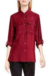 Vince Camuto Women's Two By Hammered Satin Utility Shirt Malbec Red